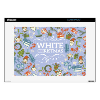"Pastel Colors White Christmas Characters Pattern 15"" Laptop Skin"