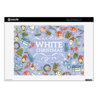 Pastel Colors White Christmas Characters Pattern Acer Chromebook Decals