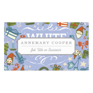 Pastel Colors White Christmas Characters Pattern Business Card