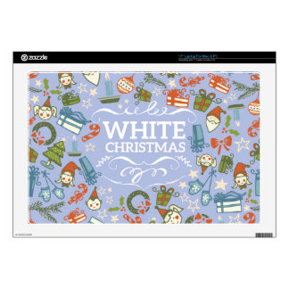 "Pastel Colors White Christmas Characters Pattern Skin For 17"" Laptop"