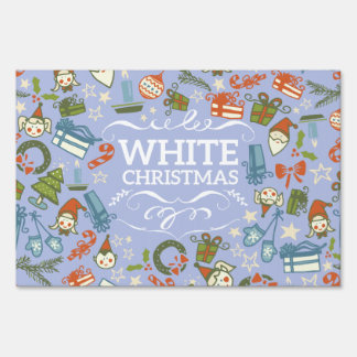 Pastel Colors White Christmas Characters Pattern Yard Sign