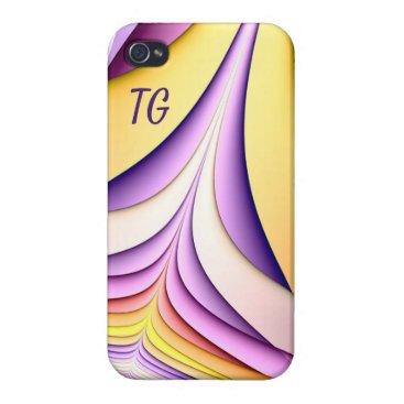 Pastel coloured fractal. Add monogram. Case For iPhone 4