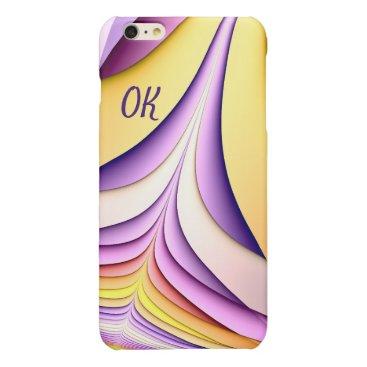 Pastel coloured fractal. Add monogram. Glossy iPhone 6 Plus Case