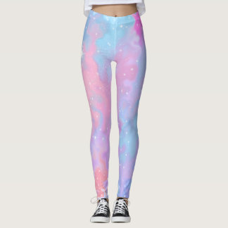 Pastel Colours Kawaii Sparkles Pink Blue Purple Leggings