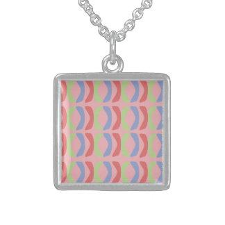 Pastel Communication Square Pendant Necklace