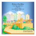 "Pastel Condos - Moving Announcement 5.25"" Square Invitation Card"