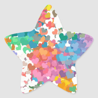 Pastel Confetti Hearts Star Sticker