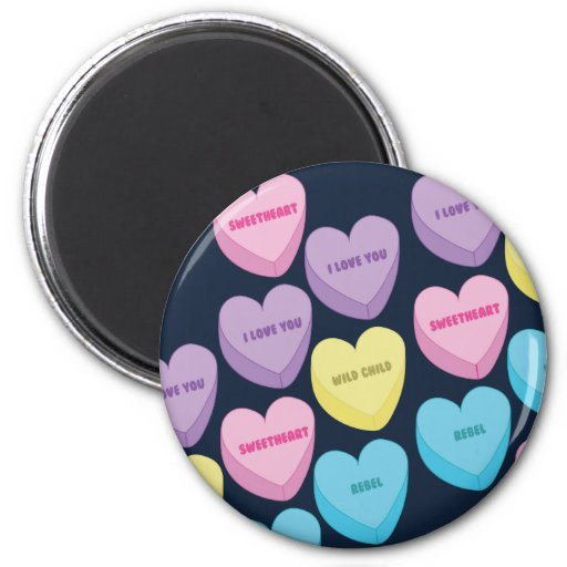 Pastel Conversation Hearts Fridge Magnets