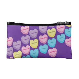 Pastel Conversation Hearts Makeup Bag