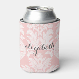 Pastel Coral and Gray Damask Suite for Women Can Cooler