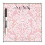 Pastel Coral and Gray Damask Suite for Women Dry-Erase Board
