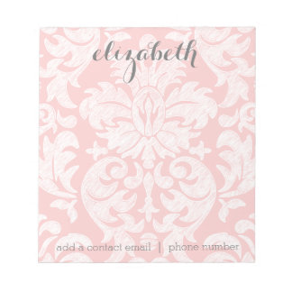 Pastel Coral and Gray Damask Suite for Women Notepad