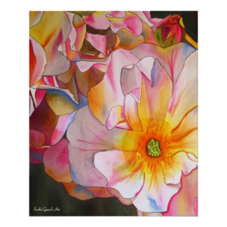Pastel Cornelia Rose watercolor art painting Poster