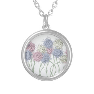 Pastel Cotton Ball Flower Scene Silver Plated Necklace