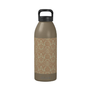 Pastel Cream and Peach Damask Reusable Water Bottles