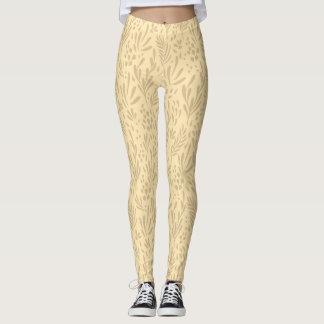 Pastel Cream,Contemporary Foral Design Leggings