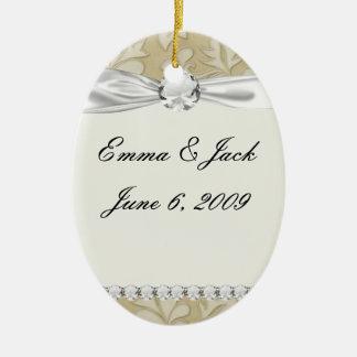 pastel cream leaf swirl damask ceramic ornament