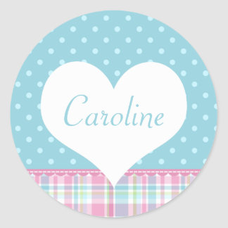 Pastel Creations Blue Dots Name Sticker