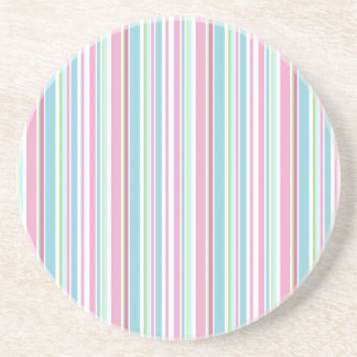 Pastel Creations Pink Blue Stripes Amazing Thirsty Beverage Coasters