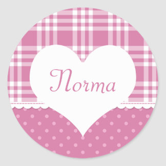 Pastel Creations Pink Dots Name Sticker