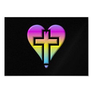 Pastel Cross inside a Heart Card