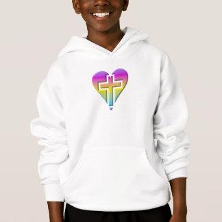 Pastel Cross inside a Heart Hoodie