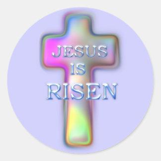 Pastel Cross-Jesus is RISEN Classic Round Sticker