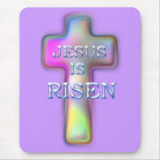 Pastel Cross-Jesus is RISEN Mouse Pad