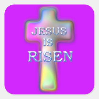 Pastel Cross-Jesus is RISEN Square Sticker