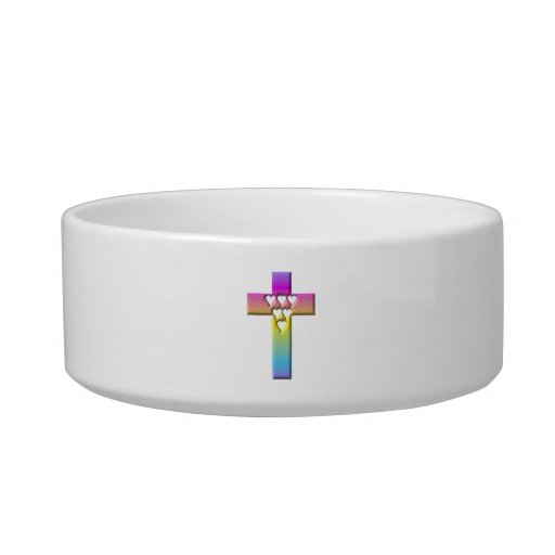 Pastel Cross with Hearts 1 Cat Bowl