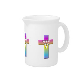Pastel Cross with Hearts 1 Drink Pitcher