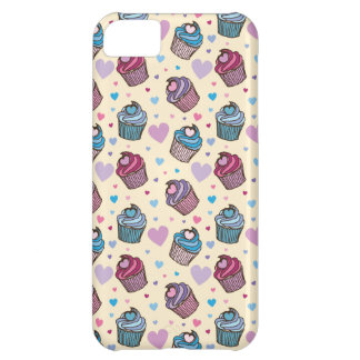 Pastel Cupcake Heart Pattern Cover For iPhone 5C