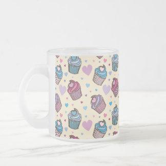 Pastel Cupcake Heart Pattern Frosted Glass Coffee Mug