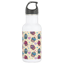 Pastel Cupcake Heart Pattern Water Bottle