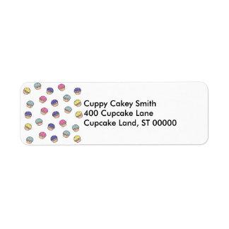 Pastel Cupcakes Pattern Label