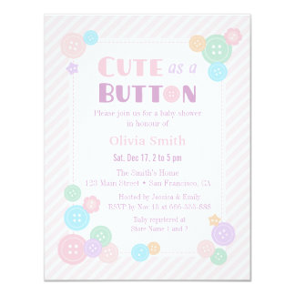 Pastel Cute as a Button Baby Shower Invitations