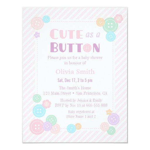 pastel cute as a button baby shower invitations zazzle
