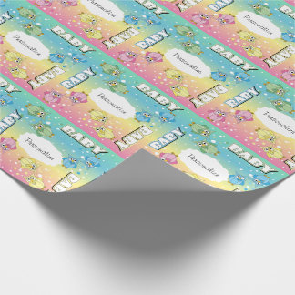 Pastel Cute Baby Polka Dot Owls Wrapping Paper