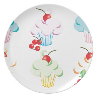 Pastel Cute Cupcakes Melamine Plate