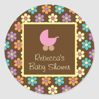 Pastel Daisy Pattern Brown with Pink Baby Carriage Round Sticker