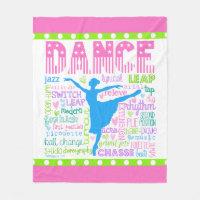 Pastel Dancer Words Typography Fleece Blanket
