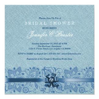 Pastel & Dark Blue Lace Bridal Shower Invite