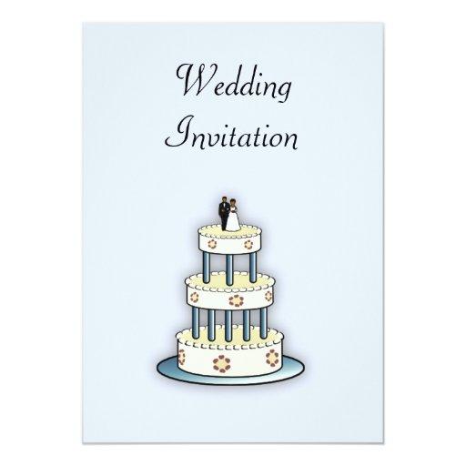 Pastel de bodas afroamericano de la invitación del