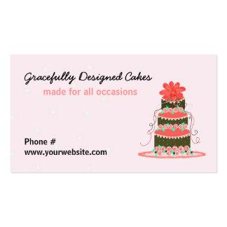 Pastel de bodas agraciado diseñado tarjetas de visita