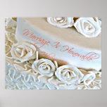 Pastel de bodas blanco con verso de la biblia de h poster