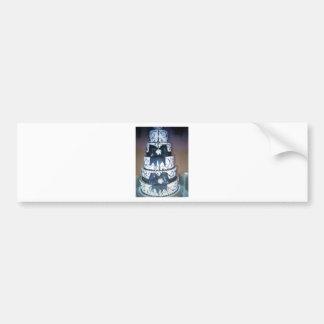 pastel de bodas blanco y negro pegatina de parachoque