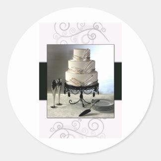 Pastel de bodas blanco y negro elegante pegatina redonda