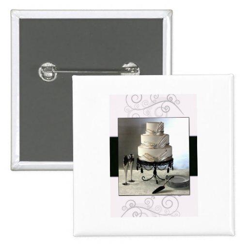 Pastel de bodas blanco y negro elegante pin cuadrado