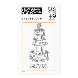 Pastel de bodas bosquejado RSVP - modificado para Timbres Postales