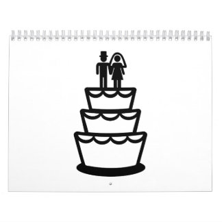 Pastel de bodas calendario de pared